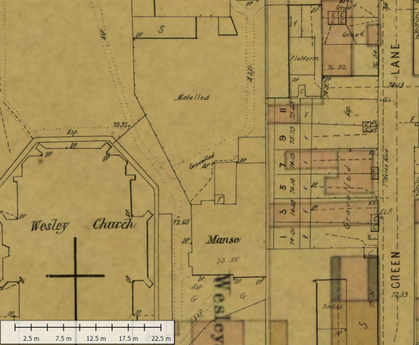 MMBW 1895 map overlaid on a c.1857 plan of Melbourne showing structures next to the manse which were excavated